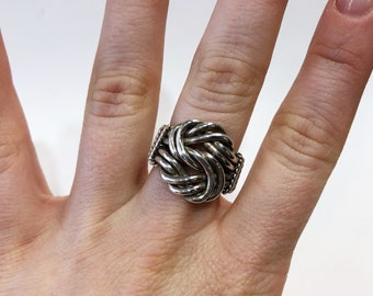 Sterling Silver Handwoven Knot Twist Ring