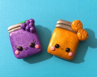 Peanut Butter and Jelly Polymer Clay Magnets, BFF Magnets, Grape jelly, Kawaii Magnets