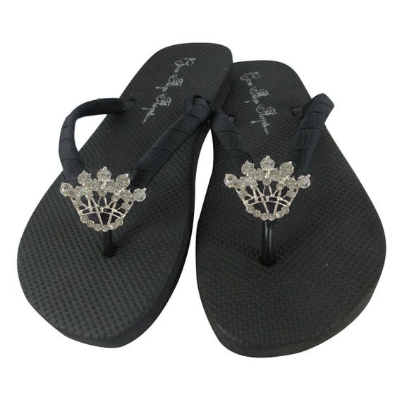 Flops Flops Bling Flip Rhinestone Many all Crown Black Colors Flip Custom sizes Princess wCq67xtzz