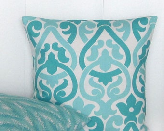 Aqua Pillow Cover, Aqua Throw Pillow Cover, Accent Sofa Couch 16x16 18x18 20x20 22x22 12x16 12x18 12x20 14x22 Lumbar Pillow, Zipper