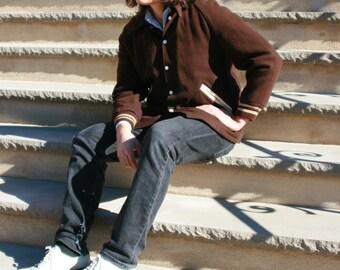 vintage mens 50s brown wool letterman jacket / vintage varsity jacket / vintage letter jacket