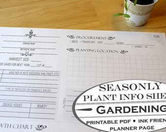 Seasonal Plant Information Sheet - Printable Garden Planner Page for Garden Journals