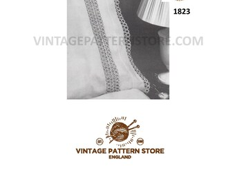 1960s, tatted lace, pillowcase insertion and edging - Vintage PDF Tatting Pattern 1823