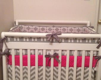 Hot Pink and Gray Elephant MINI Crib Bedding Set