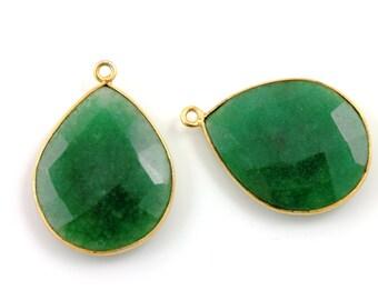 Dyed Emrald, Pear Shape Pendant, Gold Vermeil,  21x27mm,1 Piece, (BZCT4009)