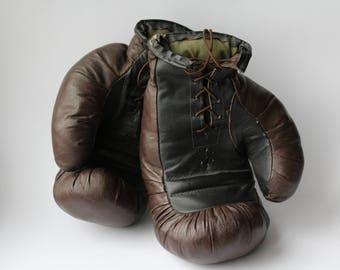 Soviet Boxing Gloves. Vintage Boxing Gloves. Leather Gloves. Leather. Box. Sport. Antique  Boxing Gloves. Retro. Soviet.USSR.