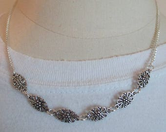 fancy silver metal charm necklace