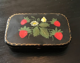 Vintage Strawberry Tin, Black Tin With Hand Painted Strawberries and Daisies, Old Candy Tin, Retro Kitchen Decor, Vintage Candy Tin