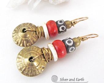 African Tribal Earrings, Boho Earrings, Brass Earrings, Gypsy Hippie Earrings, Bohemian Tribal Ethnic African Jewelry, Beaded Earrings
