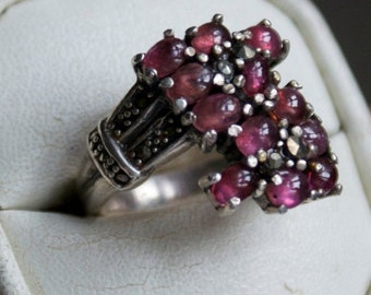 ON SALE One of a Kind Ruby Silver Marcasite Ring