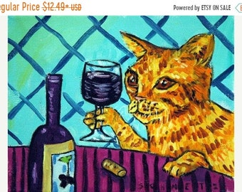 25% off cat art - print- cat art, wine, wine art, wine print, tabby cat,ginger cat, modern cat art, cat print, gift,pop art, cat gifts, gift