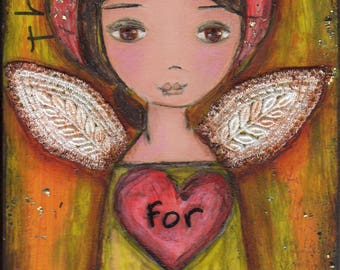Thank you For my Kind Heart - ACEO Print mounted on wood block by FLOR LARIOS (2.5 x 3.5 inches)