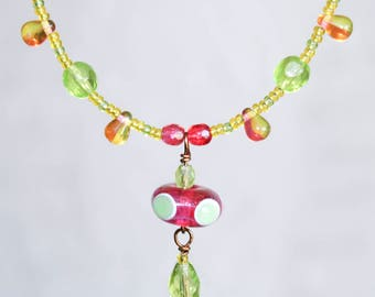 Watermelon Seed Bead Lampwork Necklace