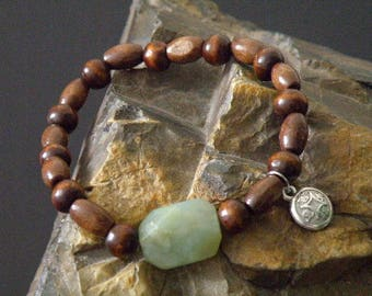 Jade and Wooden Beaded Bracelet with Chinese Coin, Protection, Generosity, Creative, Brave, Charming, Optimistic, Imaginative, Compassionate