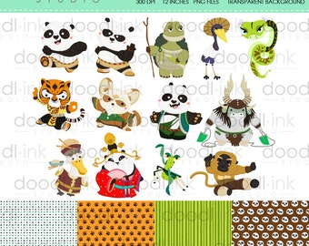 SALE 50%!!! Cute Kung Fu Digital Clipart / Animal Cartoon Clip Art / Digital Paper For Personal Use / INSTANT DOWNLOAD