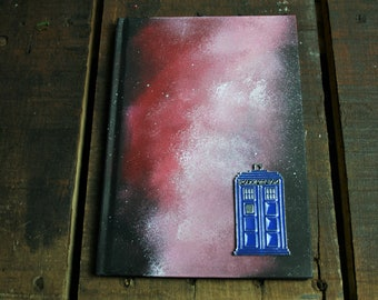 Tardis LINED  A5 Hand Painted Hardback Notebook/ Sketch Book/ Journal / Guest Book Ispired by Doctor Who