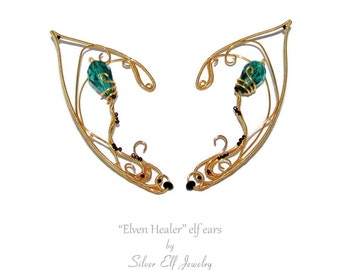 Elf Ears for Elven Healer costume, ear jewelry for elf costume, fantasy jewelry for Elf Healer cosplay, elven ears, elvish jewelry