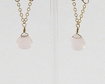 Earrings - Pink Opalite Briolettes On Gold Or Clear Crystal Teardrops On Silver (E32, 033)