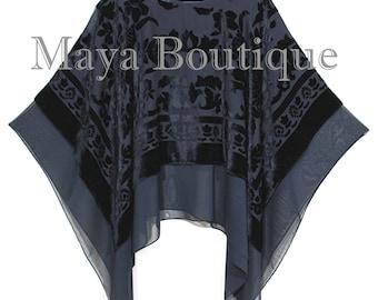Maya Matazaro Layered Poncho Top Black Burnout Velvet & Chiffon Made In USA