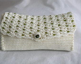 White Clutch with Green Button and Sequins