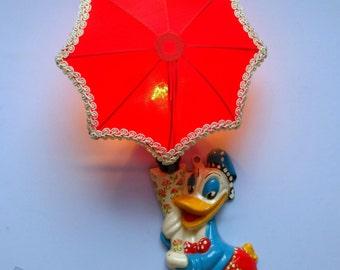 Soviet lamp. USSR 1980s Vintage. Children's lamp, nightlight. Donald Duck. A sconce. Wall lamp.