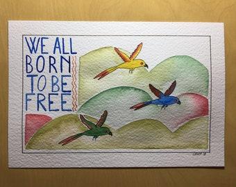 Original Watercolor Parrots, Tropical Parrots, Wild Animal Watercolor, Quote Decor, Amazon Parrots, Tropical Birds