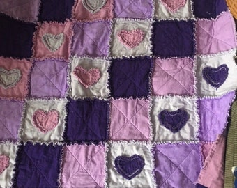 New Rag Throw Quilt with Appliquéd Hearts