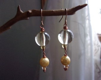 Glass bead and faux pearl earrings