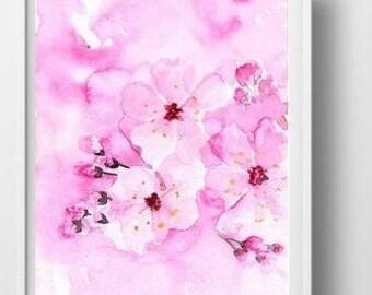 Cherry blossom art etsy sakura flower branch watercolor painting pink cherry blossom art decor printjapanese floral wall art decor girl teen nursery sakura picture mightylinksfo