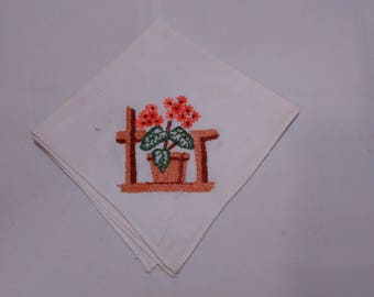 Vintage floral embroidered cotton napkin