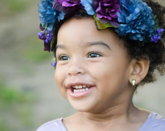 Blue and purple flowercrown / boho flowercrown / flowergirl