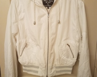 Palomares Fashions of Calif Bomber Jacket- White and Silver Shimmer