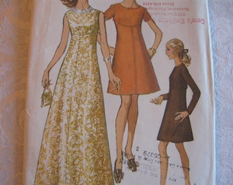 UNCUT FF Vintage 60s Cocktail Evening Gown Simplicity 8498 Sewing Pattern Size 18  Bust 40