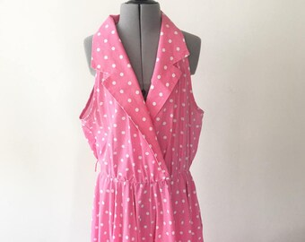 Vintage 80s Pink and White Polka Dot Dress, Party Dress, Summer Dress, Collared Dress, 1980s Clothing, Size 16
