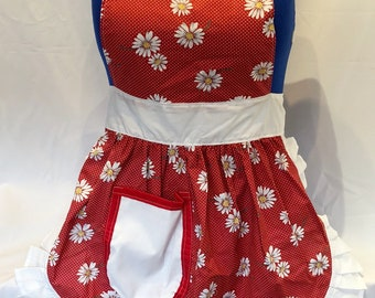 Retro Vintage 50s Style Full Apron / Pinny - Red (Daisies) with White Trim