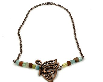 Free Shipping,Butterfly Necklace,copper butterfly necklace,butterfly jewelry,steampunk necklace,handmade butterfly necklace,ladies necklaces