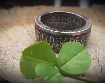 1953-1967 Thistles, Shamrock's and Leeks British Two Shillings Coin Rings.  Queen Elizabeth II (Saint Patrick's Day Gift) Irish or Scotish