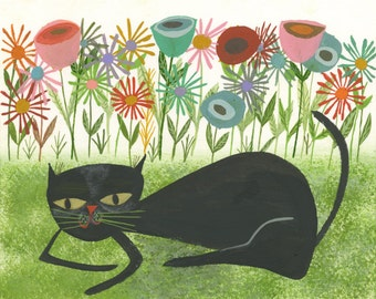 Lillian loves flowers.  Limited edition print by Matte Stephens.