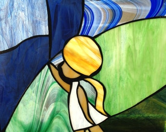 Stained Glass Girl with balloons