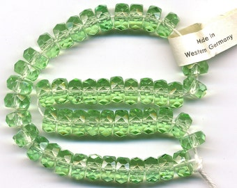 Vintage Rondelle Beads 8mm Lt Green Faceted Glass Spacers 50 Pcs. W.G.