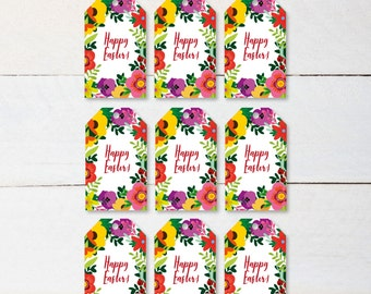Printable Happy Easter Tags | Happy Easter Digital Tags | Digital Easter Tags | Easter Printable Tags, 2 x3 | Easter Tags | Easter Flowers