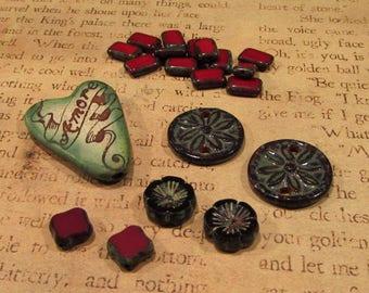 Destash - red bead lot - ceramic, glass, garnet