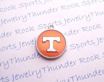 TENNESSEE VOLUNTEERS Charm, round, Antique, Silver, orange enamel, University, logo, College, Pendant