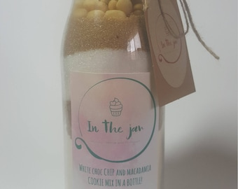 White Chocolate Chip and Macadamia Cookie Mix in a Jar