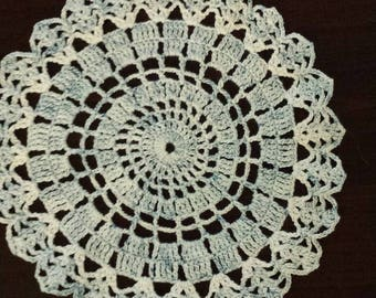 Crocheted doily light blue speckles 7inch round  clearance