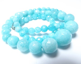 Row graduated faceted dyed agate 64 beads 5-14 mm LAO-555
