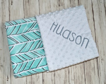Monogrammed Baby Blanket Minky, White with Mint Green Herringbone, Trendy, Gray, Blanket with name, soft Newborn receiving blanket, Neutral