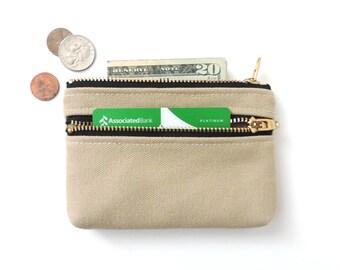 Coin Purse Wallet Double Zipper Pouch Canvas Coin Purse Beige
