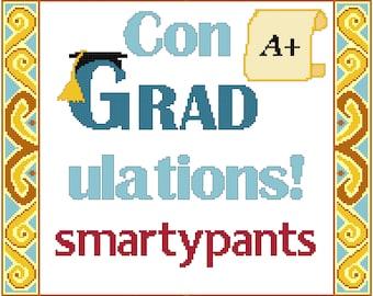 Counted Cross Stitch Pattern ConGRADulations Smartypants