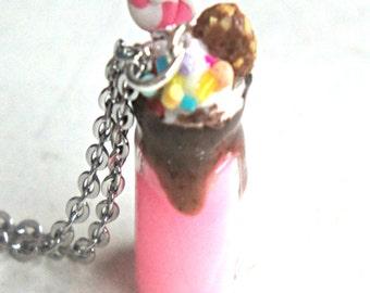Candy Milkshake Necklace-unicorn milkshake necklace. food jewelry